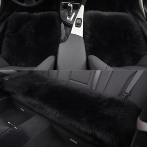 Black Car Chair Sheepskin Wool Seat Covers Cusion Pad Front rear Covers