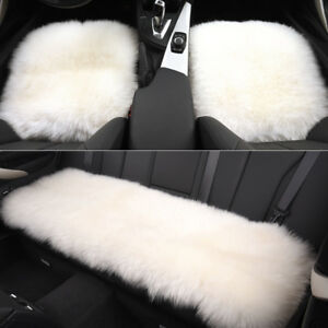 White Car Chair Sheepskin Wool Seat Covers Cusion Pad Front rear Covers