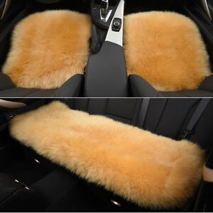 Light Tan Car Chair Sheepskin Wool Seat Covers Cusion Pad Front rear