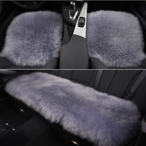Dark Grey Car Chair Sheepskin Wool Seat Covers Cusion Pad Front rear