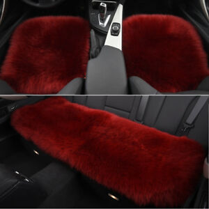 Red Car Chair Sheepskin Wool Seat Covers Cusion Pad Front rear Covers
