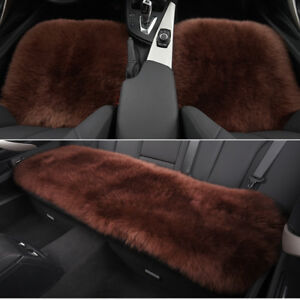 Coffee Car Chair Sheepskin Wool Seat Covers Cusion Pad Front rear Covers