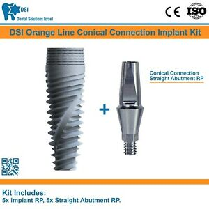 5x Dsi Dental Implant Conical Connection Nobel Active Straight Abutment Rp Iso