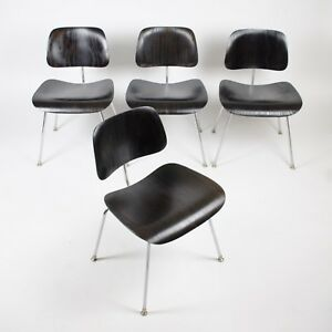 Eames Evans Herman Miller 1946 Dcm Dining Chairs Black Aniline Dye Set Of 4 Rare