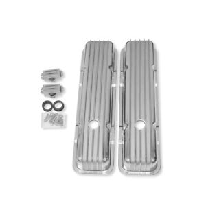 For 58 86 Sbc 350 383 Short Retro Finned Valve Cover Polished Aluminum W Hole