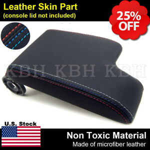 Leather Armrest Console Lid Cover For Bmw E46 99 04 Black M3 Style Stitch