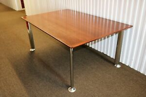 Steelcase 68 Rectangular Conference Table Or Dining Table In Natural Walnut Top