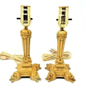 Pair Metal Antique Vintage Table Lamps Lion Head Feet Candlestick Rewired