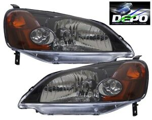 Fits 2001 2003 Honda Civic 2d Coupe Oe Style Black Head Light Depo Pair