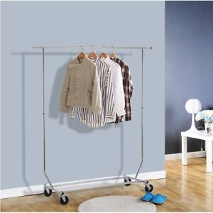 Single Bar Folding Telescopic Balcony Clothes Hanger Clothing Rolling Rack Us Fh