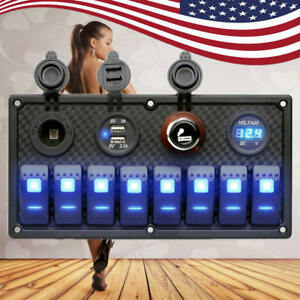 12v 24v 8 Gang Led Rocker Switch Panel Breaker Car Marine Boat Waterproof Usb To
