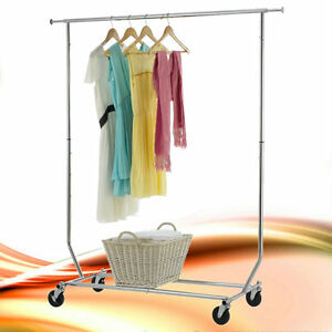 Single Bar Folding Telescopic Balcony Clothes Hanger Clothing Rolling Rack Us To