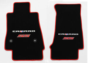 New Black Carpet Floor Mats 2016 2021 Camaro Embroidered Ss Double Logo Red Dlx