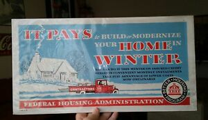 Vintage 1930s Construction Contractors Heating Air Union Fha Cardboard Sign Rare
