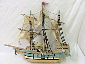 Antique Mayflower Model Ship Boat Painted Vintage Toy Boat