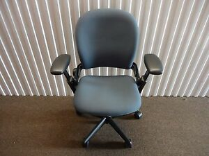 Steelcase Leap Chair In Gray Fabric Adjustable Ergonomic Chair