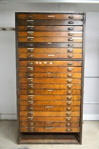Antique 1800 S Industrial Blueprint Chest Vintage 23 Drawer Map Chest