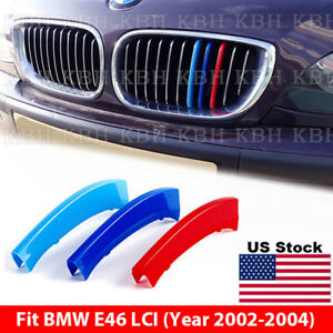 M Color Kidney Grille Grill Cover Stripe Clip Bmw 3 Series E46 Facelift 02 04