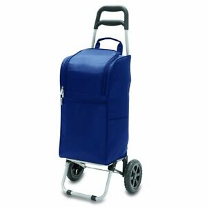 Picnic Time Comfortable Folding Rolling Wheeled Trolley Shopping Cart Cooler Ba
