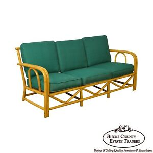 Imperial Reed Rattan Vintage Bamboo Frame Sofa