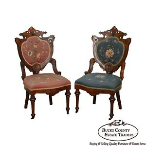 Victorian Period Pair Of Antique Walnut Needlepoint Parlor Side Chairs