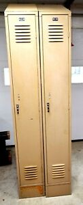 Pair Berger Used Slant Top Metal School Lockers 12 x18 x86 Republic Of Steel Co