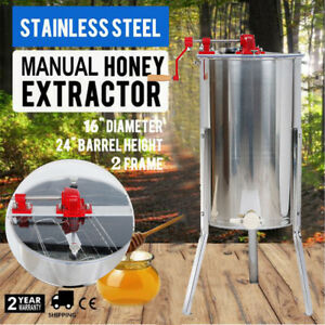 Stainless Steel 2 Frame Manual Honey Extractor 24 x16 Beekeeping Equipment