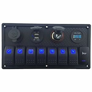 Iztoss Rocker Switches 12v 24v Dc 8 Gang Waterproof Marine Blue Led Switch Panel