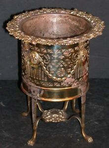Antique English Je Caldwell Empire Wine Champagne Cooler Bucket Holder Paw Feet