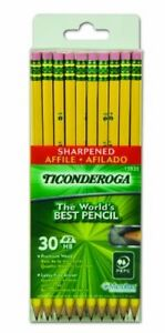 Dixon Ticonderoga Woodcase Pencils With Erasers 2hb Six Presharpened Boxes Of 30