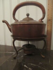 C1880s Gorham Copper Teapot Kettle On Stand Arts Crafts