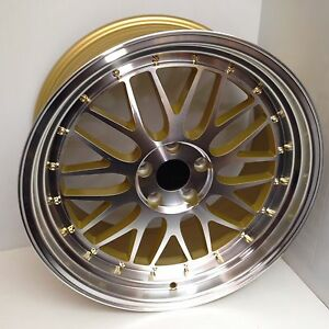 19x9 5 5x114 3 Lm Style Gold Wheels Rims Aggressive Stance Fitment For Sc300 400