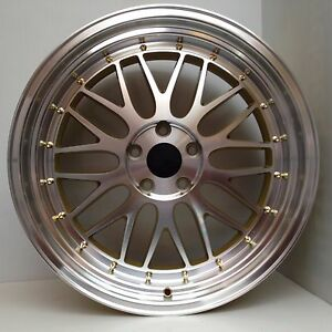 19x9 5 5x114 3 Lm Style Gold Wheels Aggressive Stance Fitment For Camry Accord