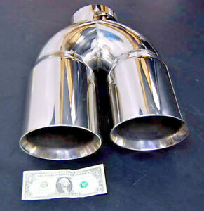 4 Dual 6 Diesel Exhaust Tip 4 00 Stainless Steel Polished Chrome Miter Stack