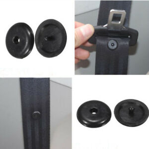 10 Universal Clip Seat Belt Stopper Buckle Button Fastener Safety Black Car Part