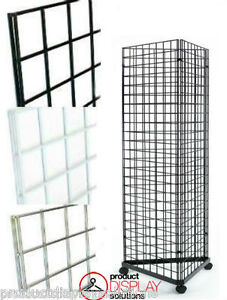 2 X 5 Grid Gridwall Triangle Tower Display With Casters Black White Or Chrome