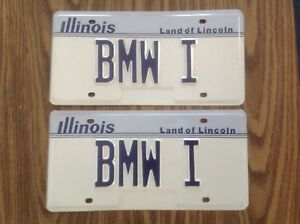 Nos Pair Illinois Bmw I License Plates Tags 1986 never Installed Isetta 600
