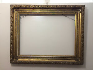 1800s Very Large Antique 50x40 Gold Gilt Gesso Wood Frame For Painting Mirror