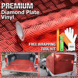 48 x84 Red Chrome Diamond Plate Vinyl Decal Sign Sheet Film Self Adhesive