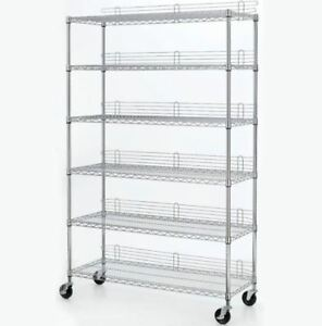 Wire Chrome Heavy Duty Shelving Unit Mobile Adjustable Storage Steel Rack New