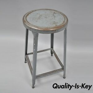 Vtg Industrial Era Metal Machinist Stool Factory Steel Work Chair Grey Drafting