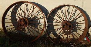 Pair Of Fordson Mccormick Deering Steel Tractor Wheels With Cleats