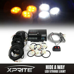 Xprite 120w 6 Led White Amber Bulbs Hide a way Emergency Warning Strobe Lights