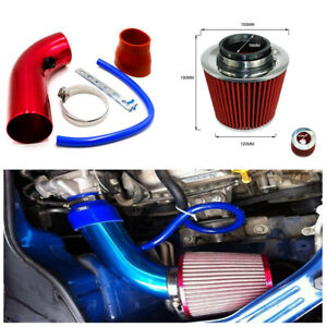 Durable Car Air Intake Kit Red Pipe Cold Air Intake Filter Clamp Attractive Set