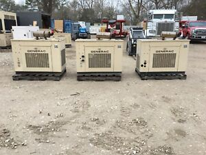 3 Generac Propane Generators 25kw Single Phase Sound Proof Enclosure Low Hours