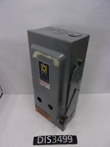 Square D 600 Volt 30 Amp Fused Disconnect Safety Switch dis3499