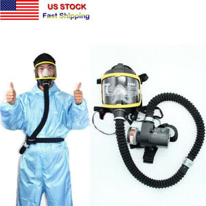 Electric Constant Flow Supplied Air Fed Respirator System Full Face Gas Mask