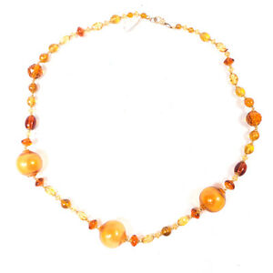 Vintage Amber Art Bijoux Beaded Murano Beads Necklace 27 25