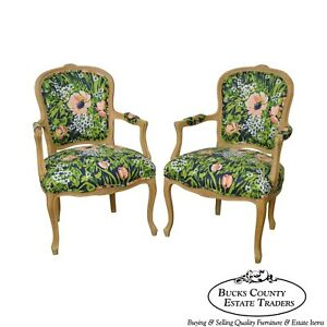 Woodmark French Louis Xv Style Pair Of Custom Upholstered Arm Chairs A