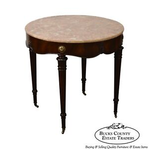 Weiman 1950s Flame Mahogany Round Regency Style Marble Top Side Table